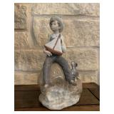 LLADRO BOY WITH BOAT PORCELAIN FIGURINE