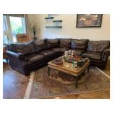 LARGE LEATHER SECTIONAL SOFA CAT KNICKS