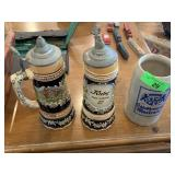 3PC BEER STEINS/ MUSIC BOXES
