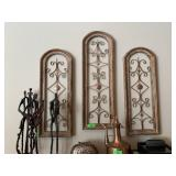 3PC METAL ARCHED WALL DECOR