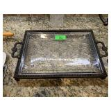 LARGE HEAVY HANDLED SERVING TRAY GLASS / METAL