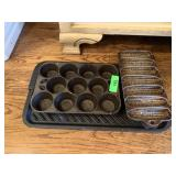 LARGE LOT OF CAST IRON MUFFIN PANS / CORNBREAD