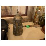 TURKISH STULE COPPER COFFEE POT / W WOOD HANDLE