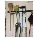 LARGE LOT OF BROOMS CLEANING UTENSILS