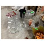 LARGE LOT OF GLASSWARE / TIERED SERVER