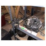 LOT OF ELECTRIC CORDS TOOLS CHAIN PULLER MORE
