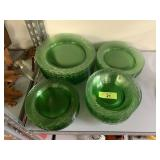 LARGE LOT OF GREEN GLASS PLATES