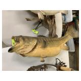 VTG LARGE MOUTH BASS TURNED TAXIDERMY MOUNT