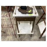 MARBLE TOP TABLE W BRASS ACCENTS AND DRAWER