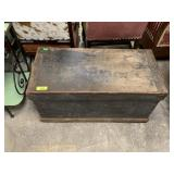 ANTIQUE WOOD TRUNK W COPPER POTS / STEEL CAN MORE