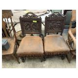 2PC ANTIQUE ENGLISH ORNATE WOOD CHAIRS