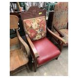 ANTIQUE OAK ROCKING CHAIR W RED LEATHER