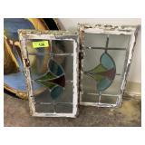2PC ANTIQUE LEADED GLASS PANEL WINDOWS