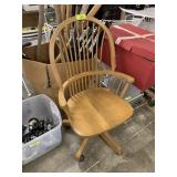 ROLLING WOOD ARM CHAIR