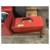 RED METAL TOOLBOX W DEWALT ANGLE GRINDERS
