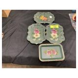 4PC VTG PAINTED METAL TRAYS