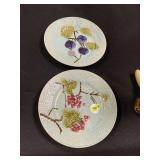 2PC VTG MAJOLICA POTTERY PLATES SEE NOTE ON BACK