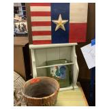 LOT OF MISC DECOR/ WOOD FLAG / PLANTER / MORE