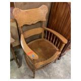 ANTIQUE OAK ARM CHAIR / ORNATE BACK STRONG SEAT