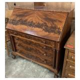 ANTIQUE CROTCH MAHOGANY SECRETARY DESK