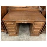 ANTIQUE QUARTER SEWN OAK DESK