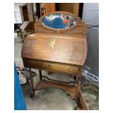 ANTIQUE OAK FALL FRONT DESK W MIRROR
