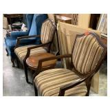 2PC SHIELD STYLE UPHOLSTERED ARM CHAIRS