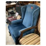 BLUE QUEEN ANNE WING BACK CHAIR