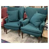 2PC CUSTOM UPHOLSTERED ARM CHAIRS