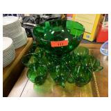 LARGE GREEN PUNCHBOWL / W CUPS