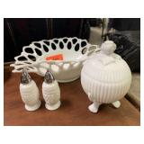 LOT OF MILK GLASS