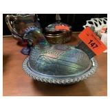 BLUE CARNIVAL GLASS NESTING HEN BASKET