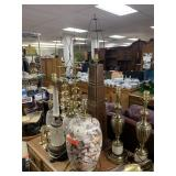 LARGE LOT OF TABLE LAMPS ( W SHELLS) MORE