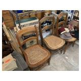 3PC CANE BACK WOOD CHAIRS