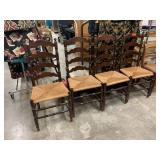 4PC LADDERBACK RUSH BOTTOM DINING CHAIRS