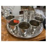 MINT JULEP SERVING GLASSES / AND TRAY