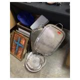 LARGE LOT OF SILVERPLATE TRAYS AND KITCHEN (AS IS)