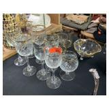 LARGE LOT OF GLASSWARE / GOLD RIMMED MORE