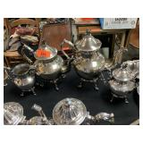 SILVER ON COPPER TEA AND COFFEE SERVICE