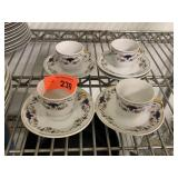 4PC CUPS AND SAUCERS AK / AP PORSELEN
