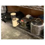 LARGE LOT OF COOKWARE / COFFE GRINDER SMALL APPL