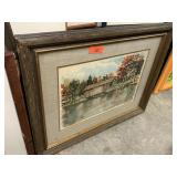 LARGE FRAMED PRINT COVERED BRIDGE