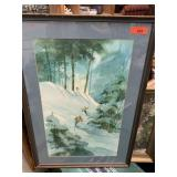 ORIGINAL WATERCOLOR SKIIERS LISTED ARTIST