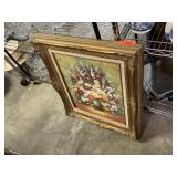 LARGE GOLD FRAMED FLORAL PAINTING