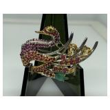 STERLING SILVER RUBY / EMERALD SWAN BROOCH