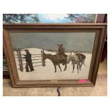 LARGE FRAMED FREDERIC REMINGTON CANVAS PRINT