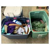 2 BINS OF CLOTHES AND MISC
