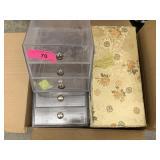 LOT OF CLEAR STORAGE/ JEWELRY CHINESE JEWELRY BOX