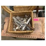 METAL HANDLED TRAY / LOT OF FLATWARE