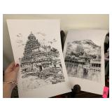 2PC SIGNED / NUMBERED TEMPLE DRAWING PRINTS